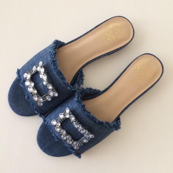 03ae3686660 NWOB Vince Camuto Denim Slide Sandals